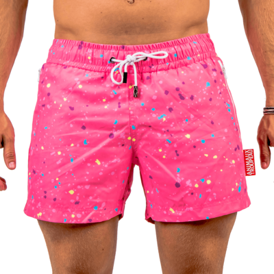 ZWEMSHORT - PINK SPLASH ZIPPER EDITION